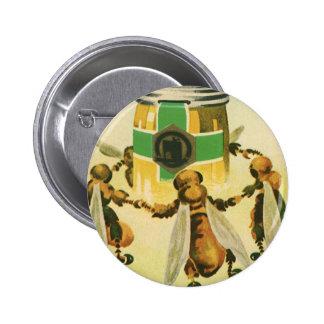 Vintage Food, Organic Honey Bees Dancing Jar Pinback Button