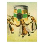 Vintage Food, Organic Honey Bees Dancing Jar Postcard