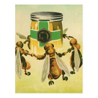 Vintage Food, Organic Honey Bees Dancing Jar Postcard