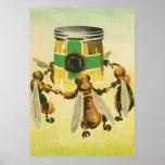Vintage Food, Organic Honey Bees Dancing Jar Poster