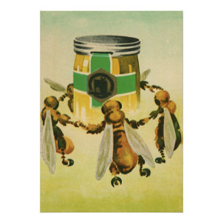 Vintage Food, Organic Honey Bees Dancing Jar Poster