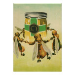 Vintage Food, Organic Honey Bees Dancing Jar Print