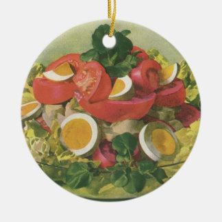 Vintage Food, Organic Mixed Green Mesclun Salad Ceramic Ornament