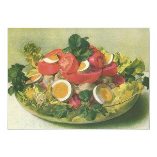 "Vintage Food, Organic Mixed Green Mesclun Salad 5"" X 7"" Invitation Card"
