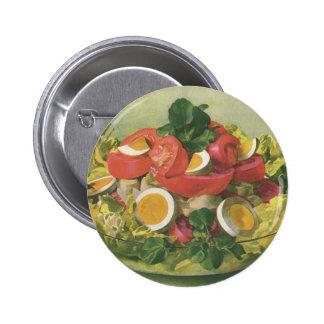 Vintage Food, Organic Mixed Green Mesclun Salad Pinback Button