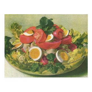 Vintage Food, Organic Mixed Green Mesclun Salad Postcard