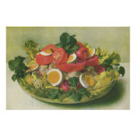 Vintage Food, Organic Mixed Green Mesclun Salad Print