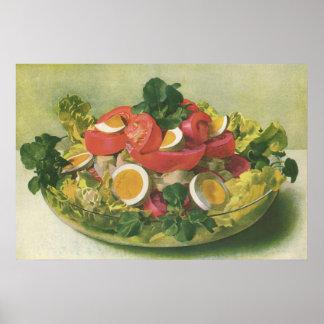 Vintage Food, Organic Mixed Green Mesclun Salad Poster