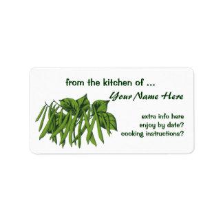 Vintage Food, Vegetables, Organic Green Beans Custom Address Label
