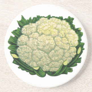 Vintage Food Vegetables Veggies Cauliflower Drink Coaster