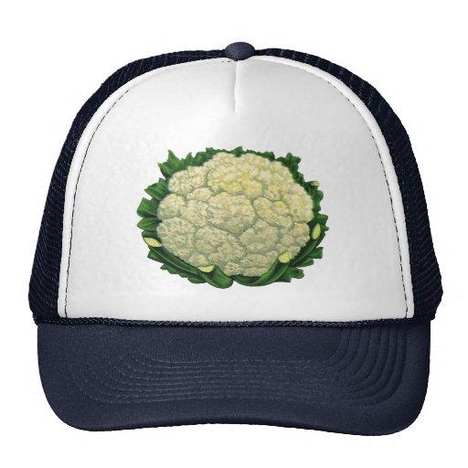 Vintage Food Vegetables Veggies Cauliflower Hat