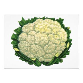 Vintage Food Vegetables Veggies Cauliflower Personalized Invitation