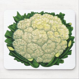 Vintage Food Vegetables Veggies Cauliflower Mouse Pad