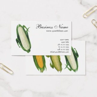 Vintage Food Vegetables White Corn on the Cob Business Card