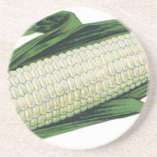 Vintage Food Vegetables White Corn on the Cob Sandstone Coaster