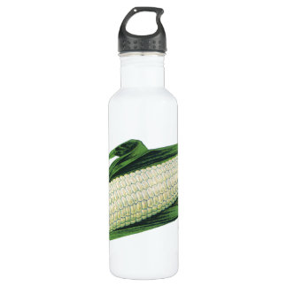 Vintage Food Vegetables White Corn on the Cob Stainless Steel Water Bottle