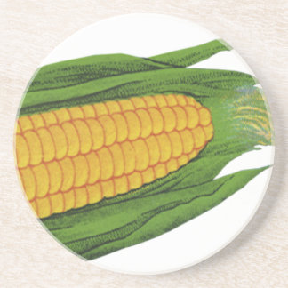 Vintage Food Vegetables; Yellow Corn on the Cob Coasters