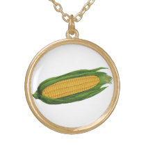 Vintage Food Vegetables; Yellow Corn on the Cob Gold Plated Necklace