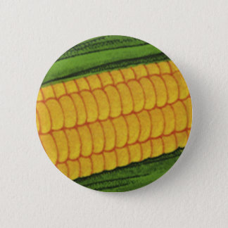 Vintage Food Vegetables; Yellow Corn on the Cob Pinback Button
