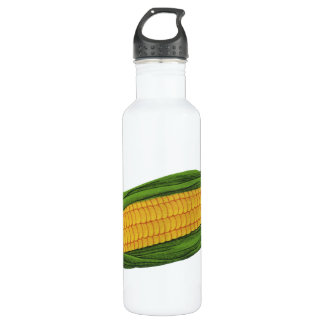 Vintage Food Vegetables; Yellow Corn on the Cob Water Bottle