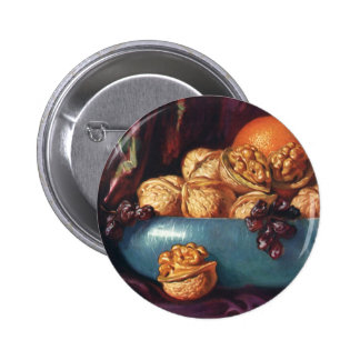 Vintage Food, Walnuts and Fruit in a Blue Bowl Button