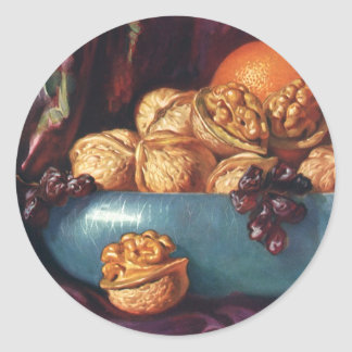 Vintage Food, Walnuts and Fruit in a Blue Bowl Classic Round Sticker