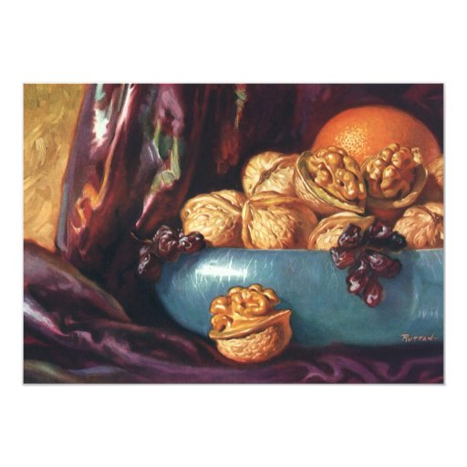 Vintage Food, Walnuts and Fruit in a Blue Bowl Personalized Invitation