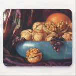 Vintage Food, Walnuts and Fruit in a Blue Bowl Mouse Pad