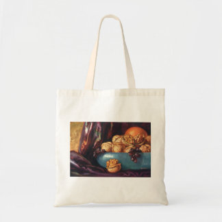 Vintage Food, Walnuts and Fruit in a Blue Bowl Tote Bag
