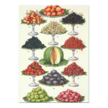 Vintage Foods Assorted Fruit on Trays for Catering 5x7 Paper Invitation Card