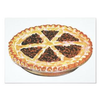 Vintage Foods Dessert, Fresh Baked Pecan Pie 5x7 Paper Invitation Card