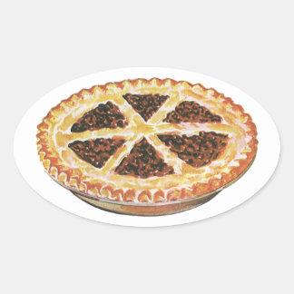 Vintage Foods Dessert, Fresh Baked Pecan Pie Oval Sticker