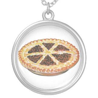 Vintage Foods Dessert, Fresh Baked Pecan Pie Round Pendant Necklace
