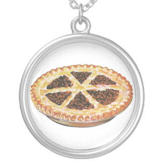 Vintage Foods Dessert, Fresh Baked Pecan Pie Silver Plated Necklace