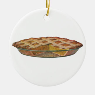 Vintage Foods, Dessert, Thanksgiving Pumpkin Pie Ceramic Ornament