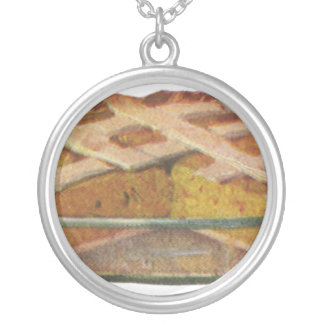 Vintage Foods, Dessert, Thanksgiving Pumpkin Pie Silver Plated Necklace