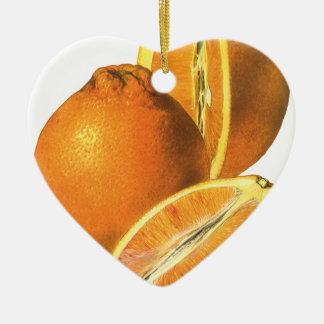 Vintage Foods, Fruit Organic Fresh Healthy Oranges Ceramic Ornament