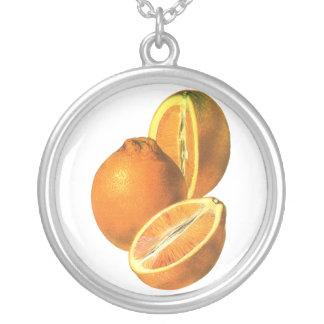 Vintage Foods, Fruit Organic Fresh Healthy Oranges Round Pendant Necklace