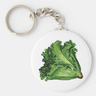 Vintage Foods, Green Leaf Lettuce Vegetables Basic Round Button Keychain