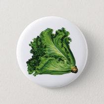 Vintage Foods, Green Leaf Lettuce Vegetables Pinback Button