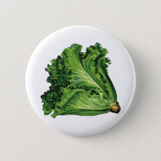Vintage Foods, Green Leaf Lettuce Vegetables Pinback Button