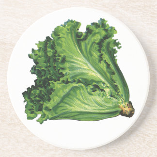Vintage Foods, Green Leaf Lettuce Vegetables Sandstone Coaster