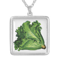 Vintage Foods, Green Leaf Lettuce Vegetables Silver Plated Necklace