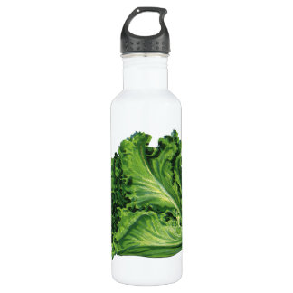 Vintage Foods, Green Leaf Lettuce Vegetables Stainless Steel Water Bottle