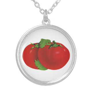 Vintage Foods, Organic Red Ripe Heirloom Tomato Silver Plated Necklace