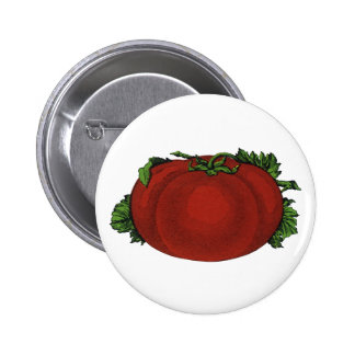 Vintage Foods, Ripe Tomato, Vegetables and Fruits Button