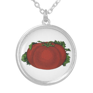 Vintage Foods, Ripe Tomato, Vegetables and Fruits Silver Plated Necklace