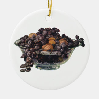 Vintage Foods, Walnuts and Almonds, Fruit and Nuts Ceramic Ornament
