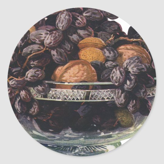 Vintage Foods, Walnuts and Almonds, Fruit and Nuts Classic Round Sticker
