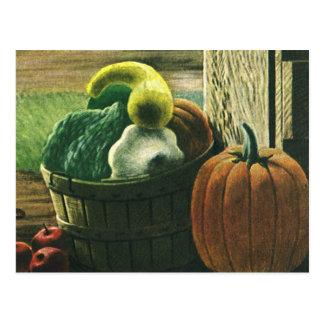 Vintage Foods, Winter Squash, Pumpkin and Apples Postcards